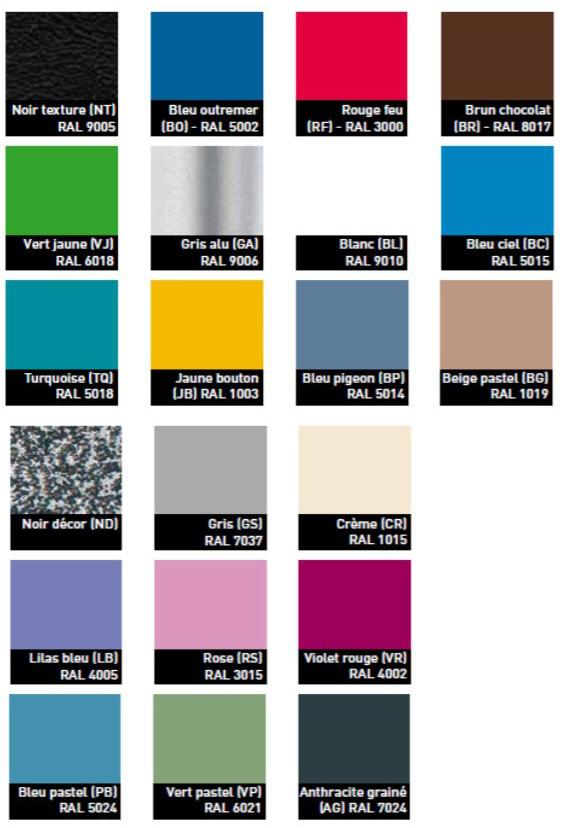 couleur des piètements métalliques des tables